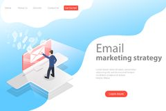 Isometrisch vectorlandingspaginamalplaatje voor e-mailmarketing, product het bevorderen royalty-vrije illustratie