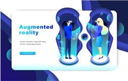 Isometrisch vergroot virtueel werkelijkheidsconcept Het malplaatje van de website vector illustratie