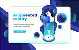Isometrisch vergroot virtueel werkelijkheidsconcept Het malplaatje van de website Vrouw vector illustratie