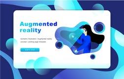 Isometrisch vergroot virtueel werkelijkheidsconcept Het malplaatje van de website Vrouw stock illustratie