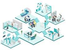 Isometrisch vlak binnenland van het ziekenhuisruimte, apotheek, artsen` s bureau, royalty-vrije illustratie