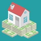 Isometrisch vlak 3D Huis en de investering van het onroerende goederengeld royalty-vrije illustratie