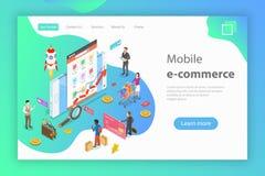 Isometrisch vlak vectorconcept mobiele reclame, sociale media campagne stock illustratie