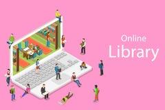 Isometrisch vlak vectorconcept online bibliotheek, onderwijs, het lezen stock illustratie