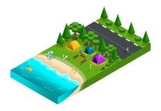 Isometrisch von, Freunde im Urlaub kampieren, Frischluft, Picknick, auf der Natur, Wald, Meer, Strand, Ufer des Sees, Landstraße, lizenzfreie abbildung