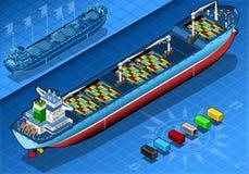 Isometrisch Vrachtschip met Containers in Achtermening Stock Afbeeldingen