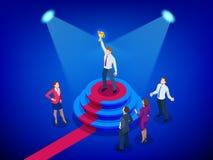Isometrisch winnaarzaken en voltooiingsconcept Bedrijfs succes Grote trofee voor zakenlieden royalty-vrije illustratie