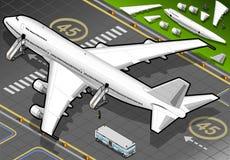 Isometrisch Wit die Vliegtuig in Achtermening is geland Royalty-vrije Stock Fotografie