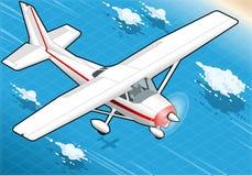 Isometrisch Wit Vliegtuig tijdens de vlucht in Front View Stock Afbeelding
