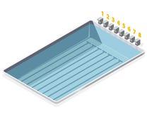 Isometrisch zwembad Met aantallen beginnende posities van startblokken Stock Foto