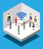 Isometrische Übung eine Bildergalerie mit Leute wi-FI stock abbildung