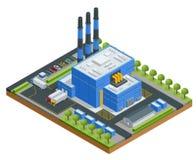 Isometrische Abfallbehandlungs-Anlage Technologischer Prozess LKW, der Abfall zu Abfallverwertungsanlage transportiert Produktion stock abbildung