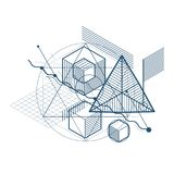 Isometrische Abstraktion mit Linien und verschiedenen Elementen, Vektor Stockbilder