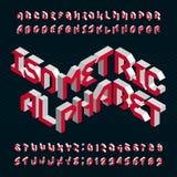 Isometrische alfabet vectordoopvont 3d letters en getallen Stock Illustratie