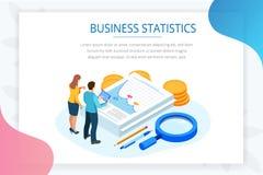 Isometrische Analyse-Daten und Investition Stapel Dokumente mit einer Dienstmarke und Bleistifte in einem Glas kreativ lizenzfreie abbildung