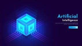 isometrische Ansicht 3D des Kubikform AI-Prozessorbausteins mit dem Glühen Stockfotografie