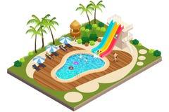 Isometrische Ansicht der Schwimmen-Reise-Erholungsort-Illustration Lizenzfreie Stockfotografie