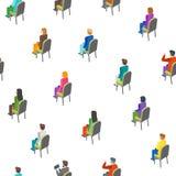Isometrische Ansicht des Geschäfts-Publikums-Konzept-nahtlose Muster-Hintergrund-3d Vektor Vektor Abbildung