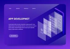Isometrische App Ontwikkelings Landende Pagina stock illustratie