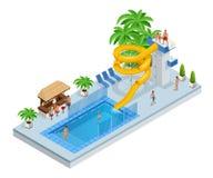 Isometrische Aqua Park mit Wasserrutschen, Wasserpool, Leute oder Besucher und Palmen Vektorillustration lokalisiert auf Weiß stock abbildung