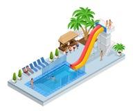 Isometrische Aqua Park mit Wasserrutschen, Wasserpool, Leute oder Besucher und Palmen Vektorillustration lokalisiert auf Weiß lizenzfreie abbildung