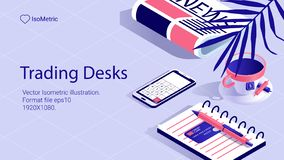 Isometrische Arbeitsschreibtischfahne freiberuflich tätiger Schreibtisch stockfoto