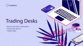 Isometrische Arbeitsschreibtischfahne freiberuflich tätiger Schreibtisch stockbild