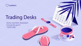 Isometrische Arbeitsschreibtischfahne freiberuflich tätiger Schreibtisch stockfotos