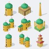 Isometrische asiatische Gebäude eingestellt Stockbilder