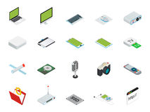 Isometrische Ausgangs- und BüroComputerausrüstung mit dem Desktop, Laptop, tablets Telefon usw. Stockbild