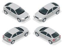 Isometrische auto Vijfdeursautoauto Vlakke 3d hoge vector - de reeks van het het vervoerpictogram van de kwaliteitsstad Stock Foto