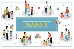 Isometrische Babysitter And Kids Concept vector illustratie
