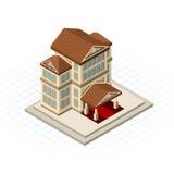 Isometrische Bank die Vectorillustratie bouwen royalty-vrije illustratie