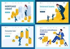 Isometrische Bankleningen, Krediet, Rentebetaling royalty-vrije illustratie