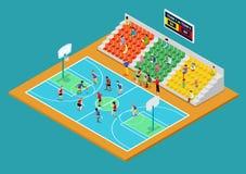 Isometrische Basketbalspeelplaats met Spelers en Ventilators royalty-vrije illustratie