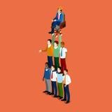 Isometrische Bedrijfsmensen Team Work Leadership Concept stock illustratie