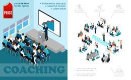 Isometrische Bedrijfsonderwijssamenstelling stock illustratie