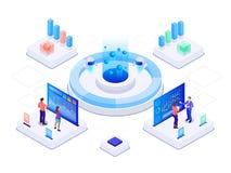 Isometrische bedrijfsstrategie en planning Investeringen en Analysegegevens Vectorillustratie voor presentatie of het landen royalty-vrije illustratie