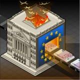 Isometrische Beurs brandende euro Stock Afbeelding
