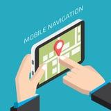Isometrische bewegliche Navigation GPSs mit Tablette Mann, der ein tabl hält lizenzfreie abbildung