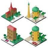 Isometrische Bildmenge mit öffentlichen Gebäuden, Bänke, Bäumen und Auto Lizenzfreie Stockfotos