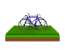 Isometrische blauwe fiets op groen gras Royalty-vrije Stock Foto