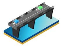 Isometrische Brücke über dem Fluss mit Autos Lizenzfreie Stockfotografie