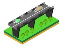 Isometrische Brücke mit Autos Lizenzfreie Stockfotos