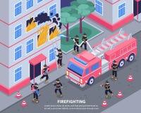 Isometrische Brandbestrijder Illustration Stock Afbeeldingen