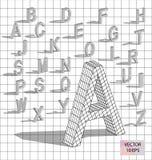 Isometrische brieven met dalende schaduw Royalty-vrije Stock Afbeelding