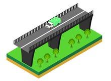 Isometrische brug met auto's Royalty-vrije Stock Afbeeldingen