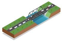 Isometrische brug over de rivier Commercieel vervoer Vrachtwagenauto Diverse types van lading en lading logistiek Vector Royalty-vrije Stock Foto
