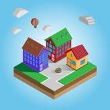 Isometrische bunte Häuser auf einer Straße stock abbildung