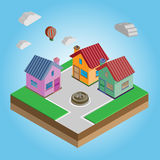 Isometrische bunte Häuser auf einer Straße Lizenzfreie Stockbilder